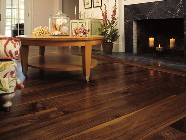 American Black Walnut Wide Plank Engineered Unfinished Wood Flooring, Character Grade